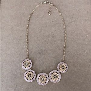 Light purple with light pink rhinestones necklace